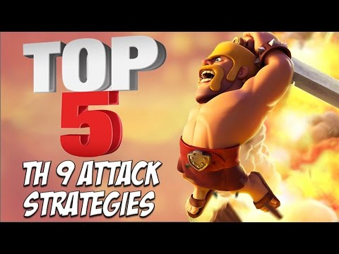 TOP 5 Best TH 9 Attack Strategy for Clan Wars   3 Star Attacks   Clash of Clans