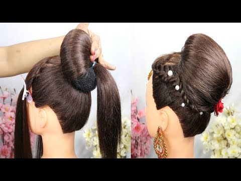 new-latest-wedding-hairstyle-step-by-step-||-easy-bun-hairstyle-for-festival-||-party-hairstyle