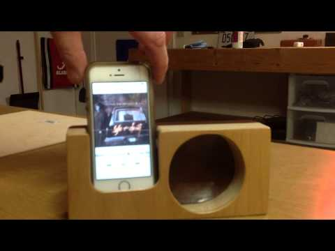 iPhone wooden speaker box DIY .  This is my first video ever so sorry for the poor choreoghraphy
