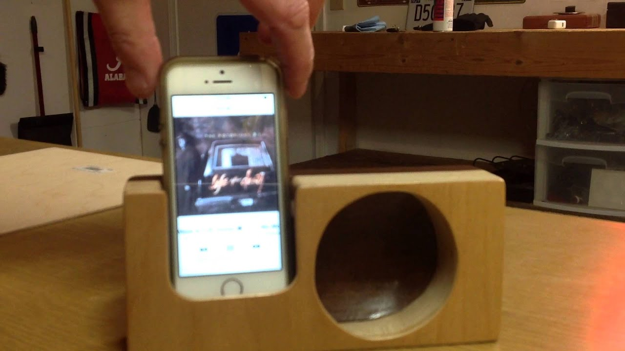 wooden speaker How to build a retro mid century modern diy wooden bluetooth speaker box from wood scraps and it's even got a hidden compartment for charging cord storage.