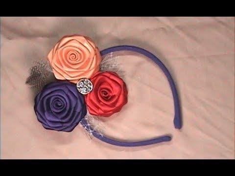 Diy Ribbon Roses Headband Fascinator How To Make Youtube