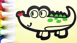 Crocodile coloring & drawing & studying English for kids ㅣ 악어 그리기 색칠하기 영어 공부
