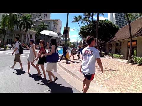 Walking through part of Waikiki- Honolulu, Hawaii - Aug, 2016