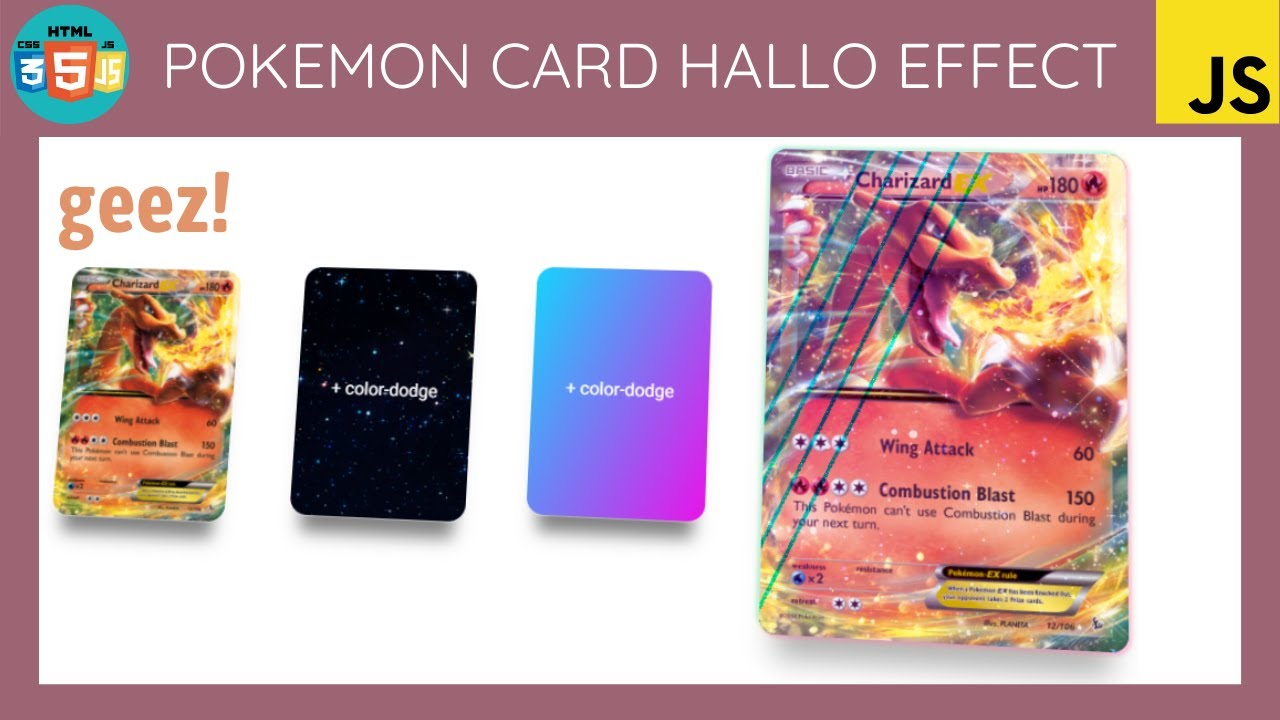 Pokémon Card Hollo Effect with Html, Css and Javascript