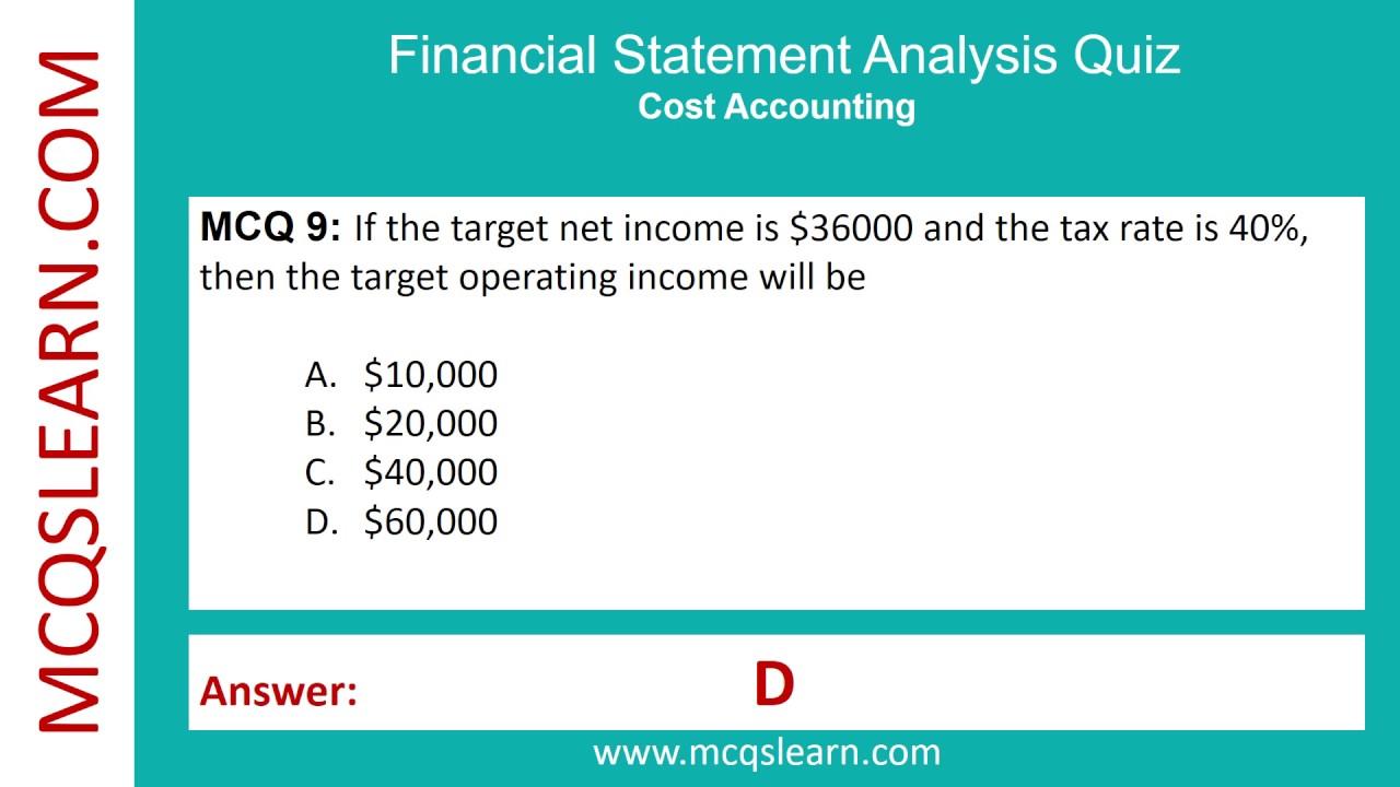 Financial Statement Analysis Quiz   MCQsLearn Free Videos