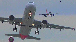 Storm Katie - Heavy Crosswind Landings At Düsseldorf With Emirates A380 (Multicam Video)