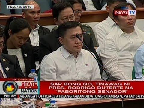 """SONA: SAP Bong Go, tinawag ni Pres. Rodrigo Duterte na """"paboritong senador"""""""