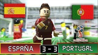 España 3 vs Portugal 3 - Lego Fútbol - Mundial Rusia 2018 Grupo B - Stop Motion