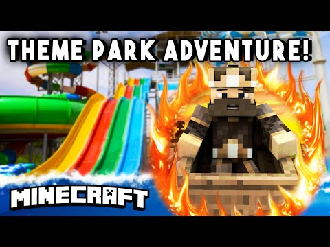 THEME PARK ADVENTURE [Ep4] (Water Slides, Rollercoasters, & More!) - Minecraft Maps