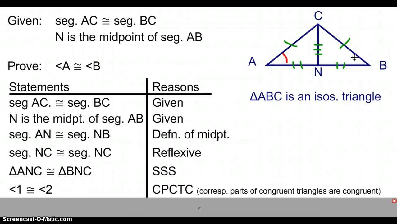 Isosceles Triangle Theorem - YouTube
