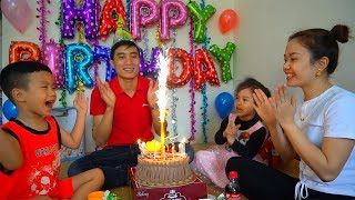 Happy Birthday to Daddy with surprise gift and cake from Mommy, Anto and Diana | Family Fun Kids