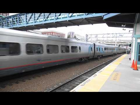 Boston-bound Acela Express Passing By New Haven - State Street