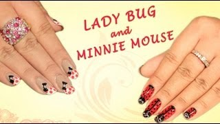 Lady Bug Nail Art - Minne Mouse Nail Art - Learn 2 In 1 Tutorial - Khoobsurati.com