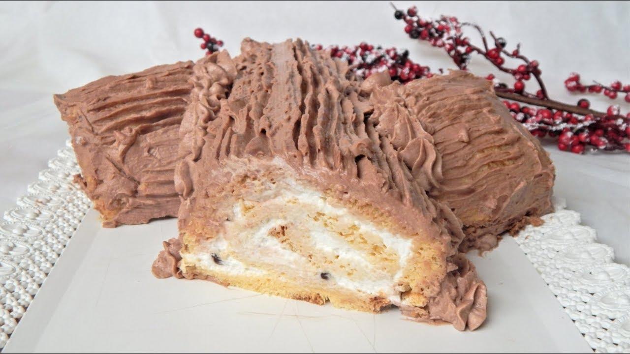 Tronchetto Di Natale Con Pandoro.Tronchetto Di Natale Dolce Senza Cottura Ricetta Facile E Veloce Youtube