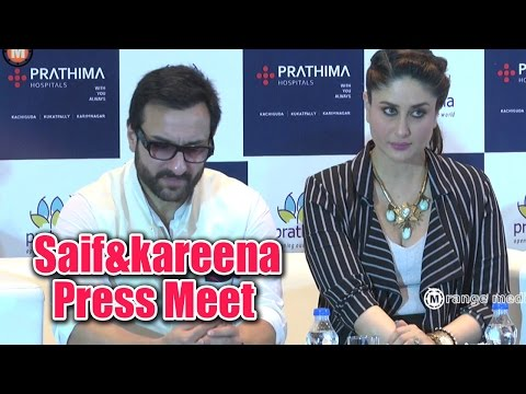 Saif Ali Khan & Kareena Kapoor Hyderabad Prathima Hospital Press Meet