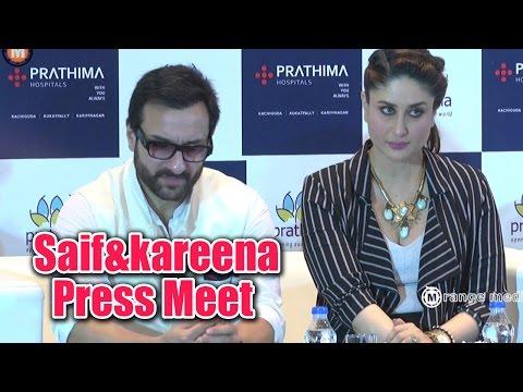 Saif Ali Khan & Kareena Kapoor Hyderabad Prathima Hospital Press Meet