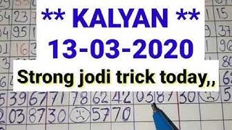 Kalyan matka **13-03-2020** strong jodi trick // Kalyan satta matka bazaar