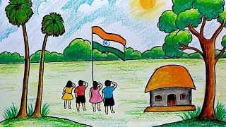 Republic Day Special Drawing for Kids | Step by step Village Scenery Drawing for Kids