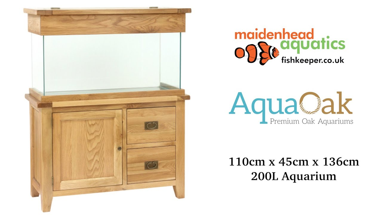 Aqua Oak 110cm Doors Drawers Aquarium And Cabinet