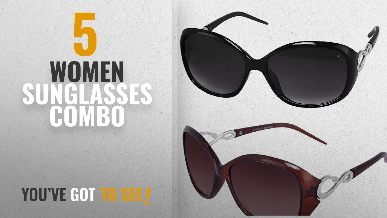 bbea5b34372e Top 10 Women Sunglasses Combo [2018]: Y&S Womens Sunglasses Of 2 Combo Of 2  Sunglass (Black Brown)