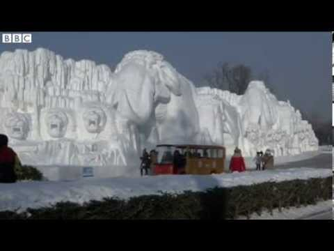 Ice festival  Artists carve work from ice in China