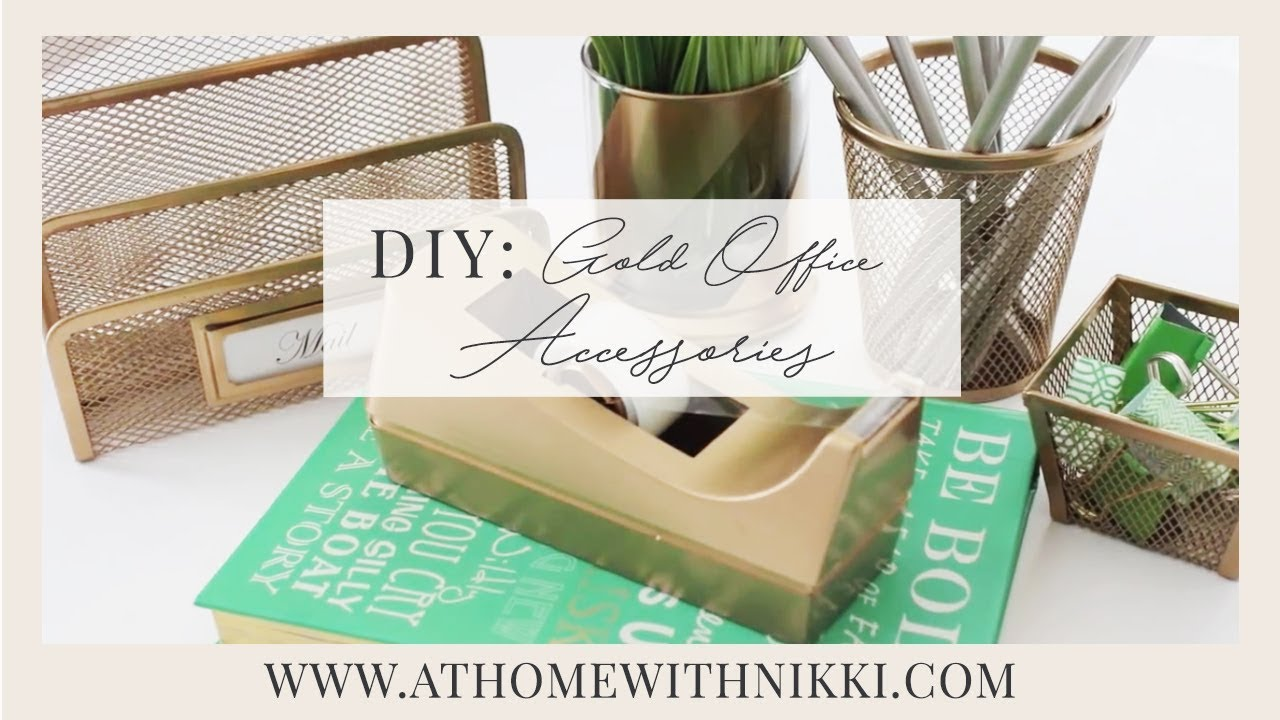 Diy gold office accessories how to organize your office for Diy office accessories