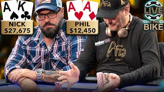 HELLMUTH STORMS OFF THE SET!!! ♠ Live at the Bike!