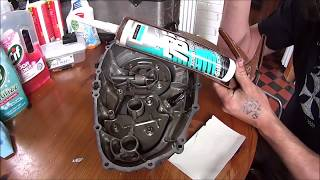 Using silicone sealant as a gasket on a motorbike.