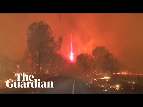 Moment fire whirl forms during California Camp Fire