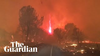 Moment 'fire whirl' forms during California Camp Fire