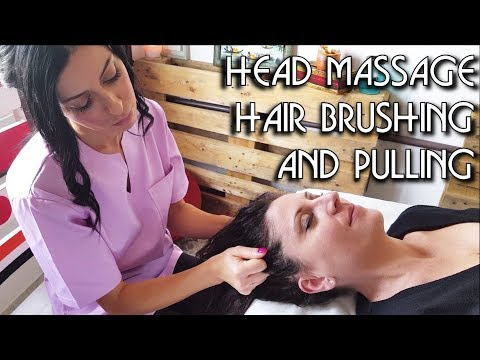 💆 Relaxing Face and Head Massage with Hair Brushing and Pull