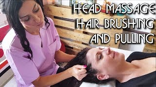 💆 Relaxing Face and Head Massage with Hair Brushing and Pulling - ASMR no talking