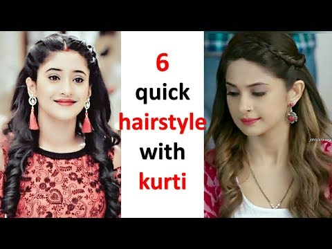 6 quick hairstyle with kurti | juda hairstyle | easy hairstyle | new hairstyle | hairstyle for girls thumbnail