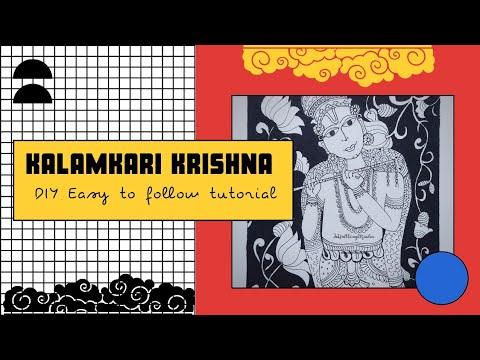 Kalamkari Krishna    Traditional Folk Art    Kalamkari design ideas    DIY    Tutorial