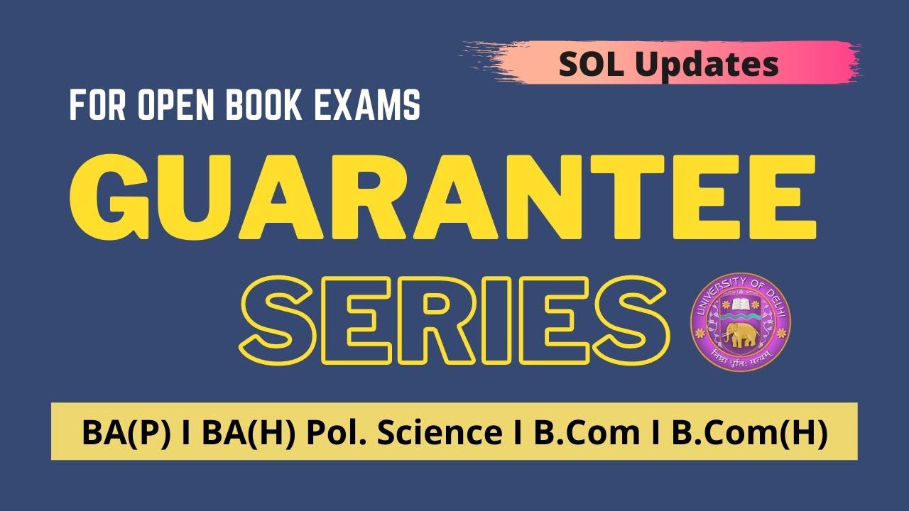 DU- SOL I Guarantee Series I Third Year I BA(P/H) I B.Com(P/H) I OBE