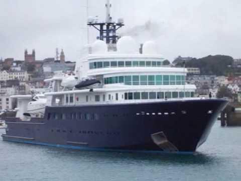 Roman Abramovich's Mega Yacht LE GRAND BLEU leaves Guernsey Harbour