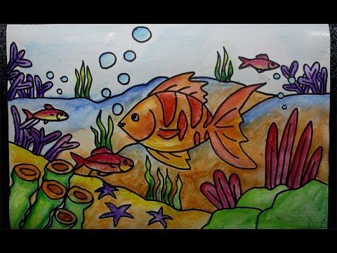 watercolor pencils for kids - underwater scene - YouTube