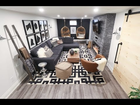 A chic and cozy basement living room for a family of five