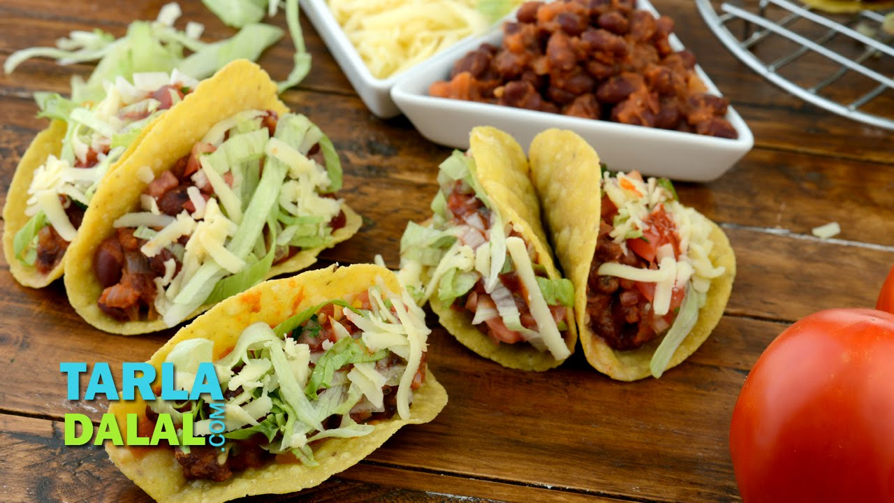 Tacos veg mexican bean tacos recipe by tarla dalal youtube forumfinder Gallery