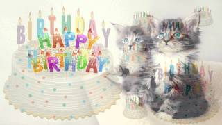 Happy Birthday Song in Child Voice with Images of Cats and Cakes