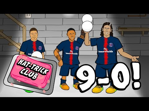 🎬9-0 HAT-TRICK CLUB!🎬 Neymar gatecrashes Hat-Trick Club! (PSG vs Guingamp Parody)
