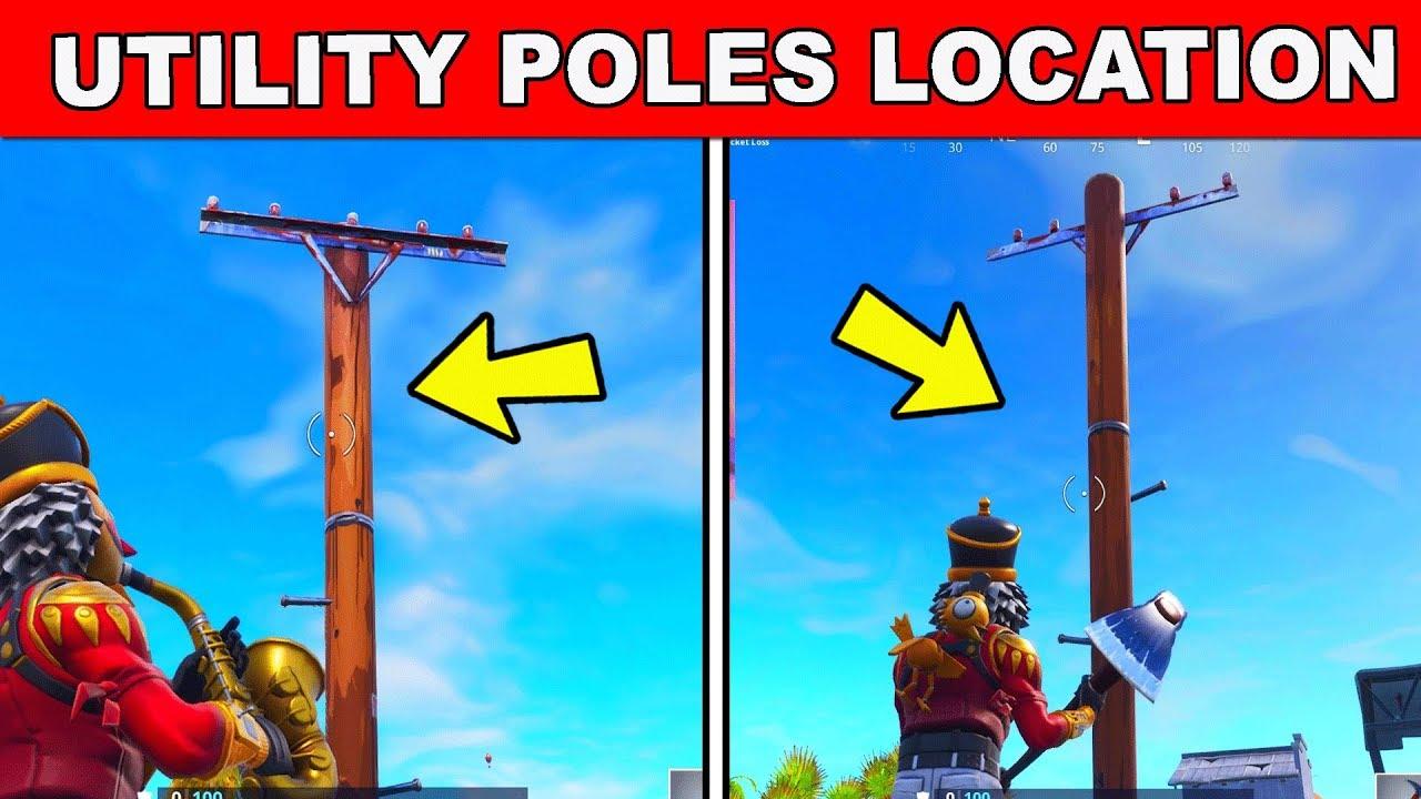 Destroy Wooden Utility Poles Location Week 4 Challenges Fortnite