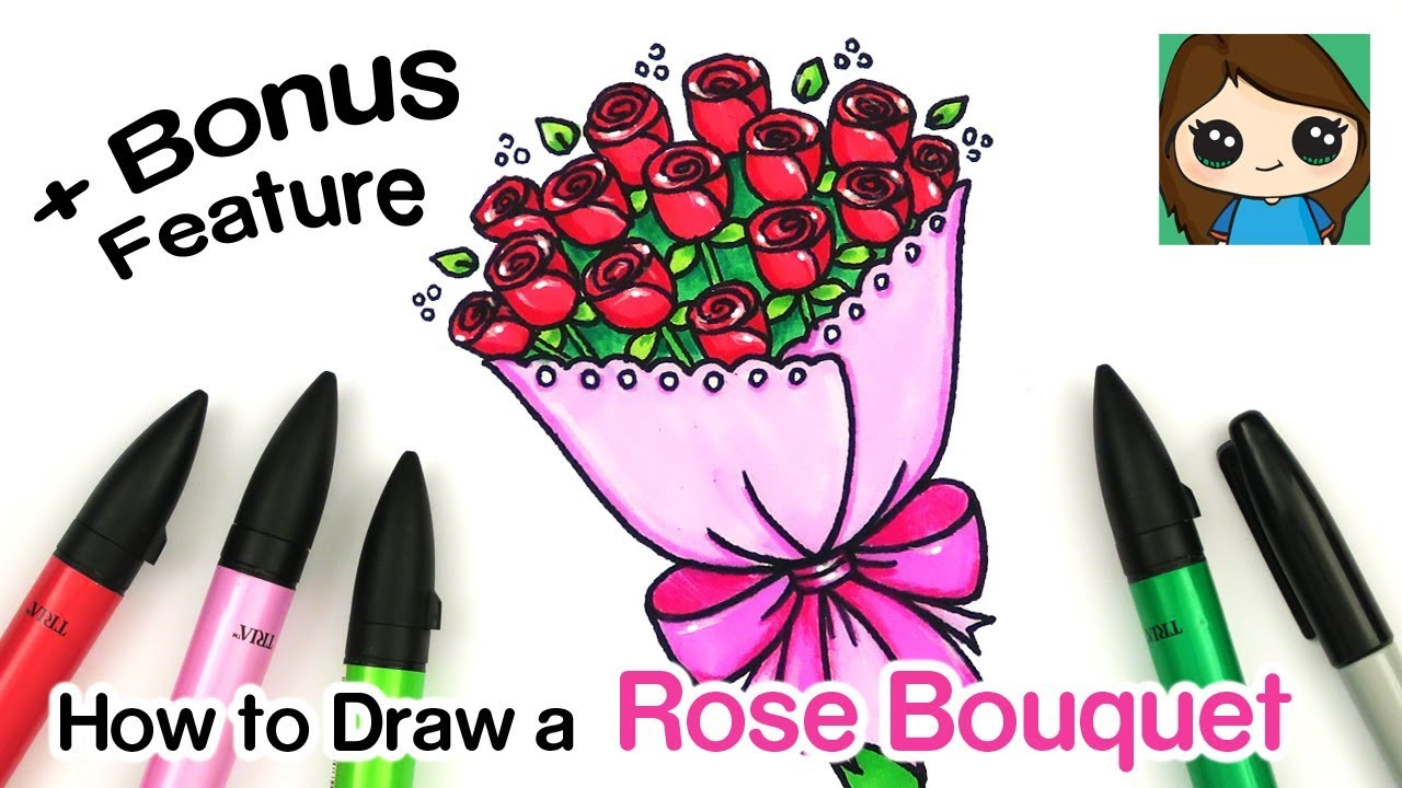 How To Draw A Bouquet Of Roses Bonus Feature Youtube