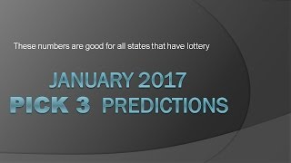 Pick 3 Lottery Predictions January 2017 Monthly Chart