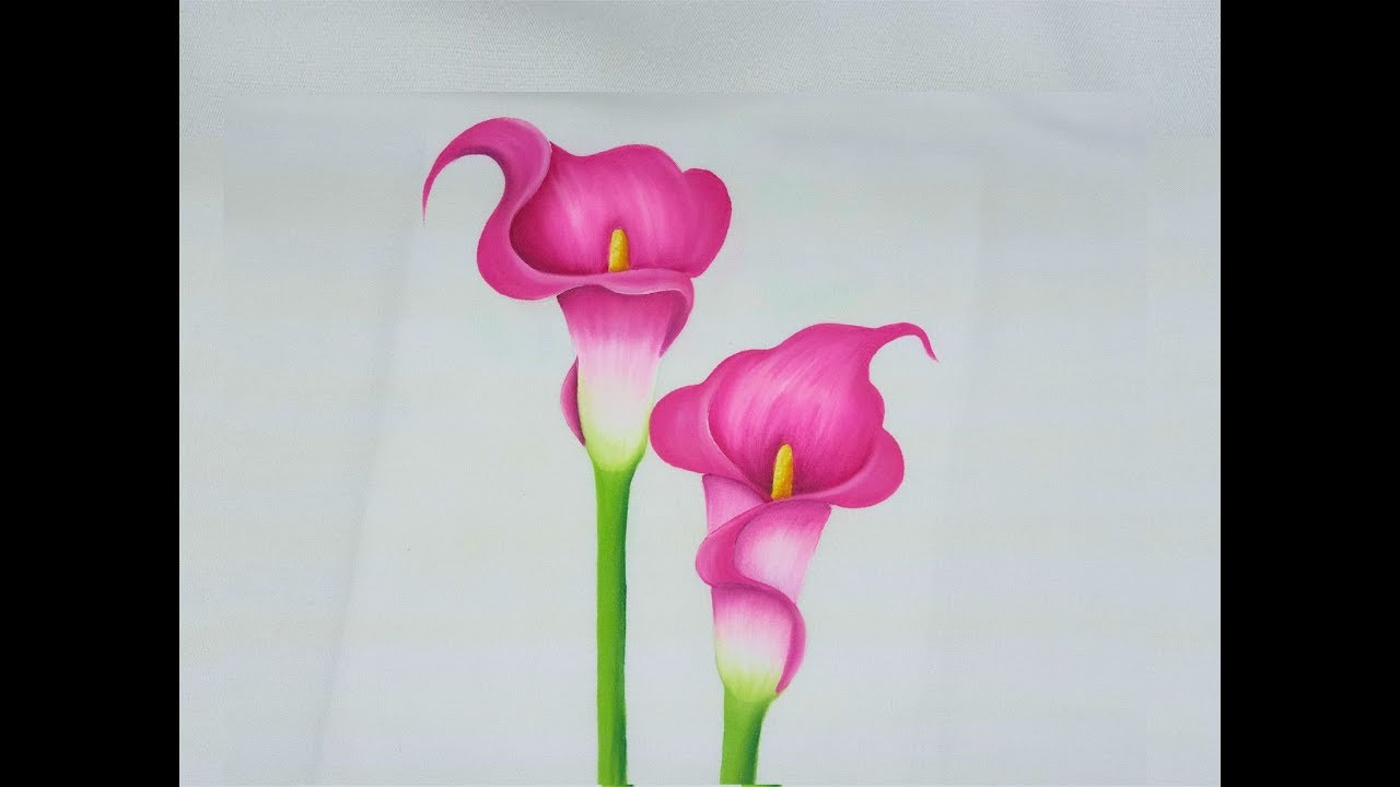 Pintura En Tela Como Pintar Flores Alcatraces Rosas Youtube