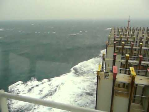 empty container vessel sailing  wind force 8