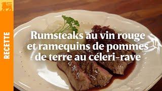 Rumsteaks au vin rouge et ramequins de pommes de terre au céleri-rave