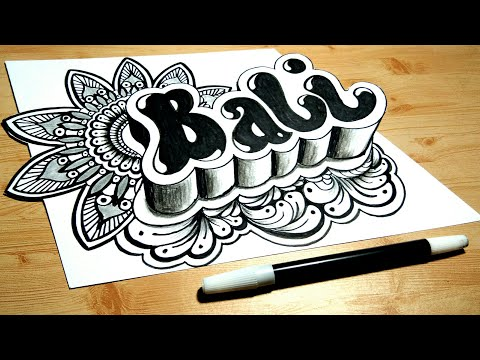 How to draw 3D name doodle art BALI on paper