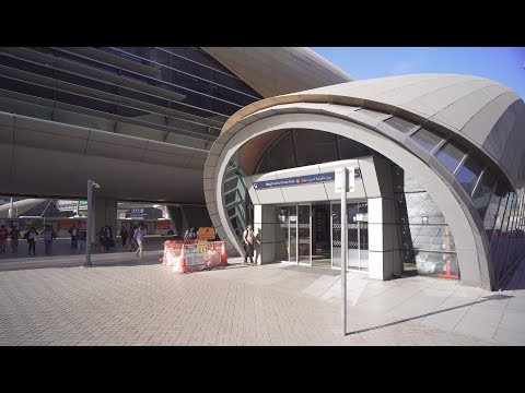 United Arab Emirates, Dubai, metro ride from Business Bay to Burj Khalifa/Dubai Mall