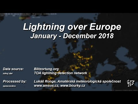 Blesky nad Evropou 2018 / Lightning over Europe 2018 (Blitzortung.org)